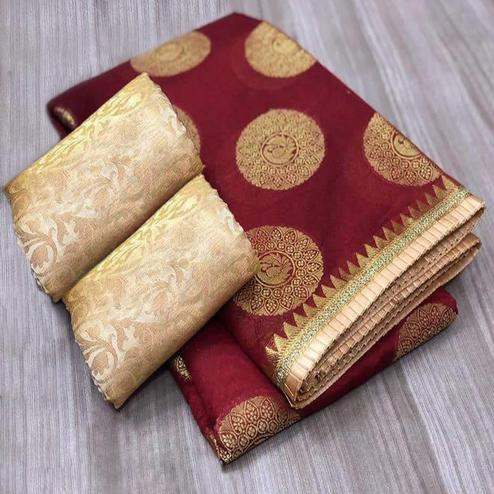 Graceful Maroon Colored Festive Wear Foil Printed Chanderi Silk Saree