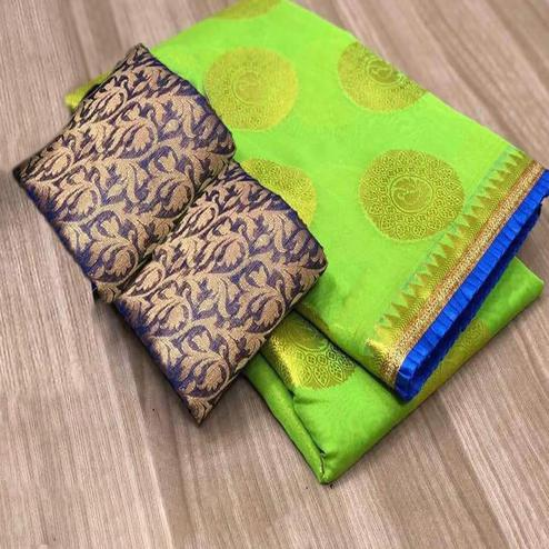 Blooming Green Colored Festive Wear Foil Printed Chanderi Silk Saree