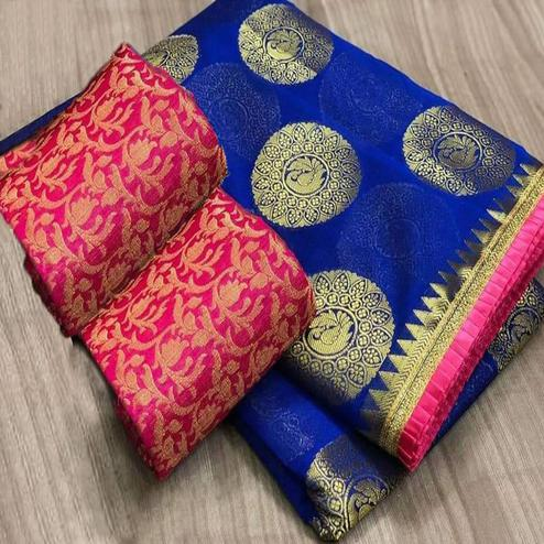 Charming Blue Colored Festive Wear Foil Printed Chanderi Silk Saree