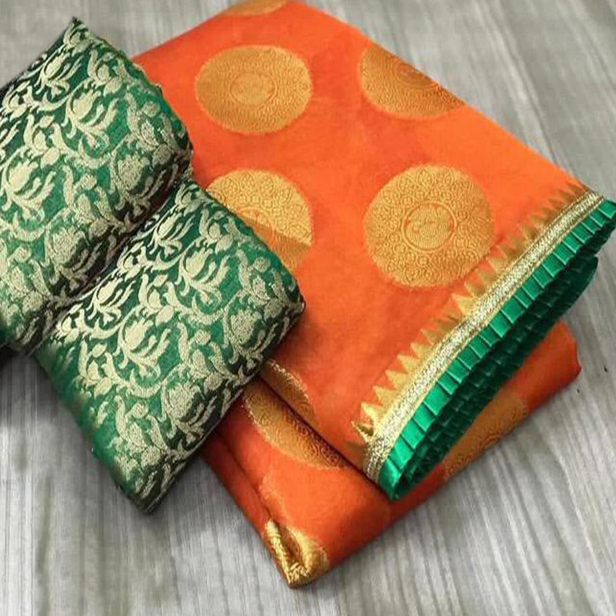 Engrossing Orange Colored Festive Wear Foil Printed Chanderi Silk Saree