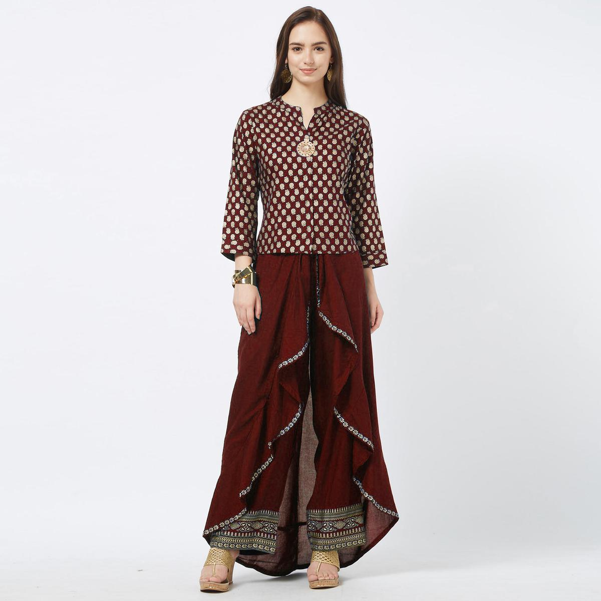 Energetic Maroon Colored Partywear Foil Printed Cotton Top & Palazzo Set