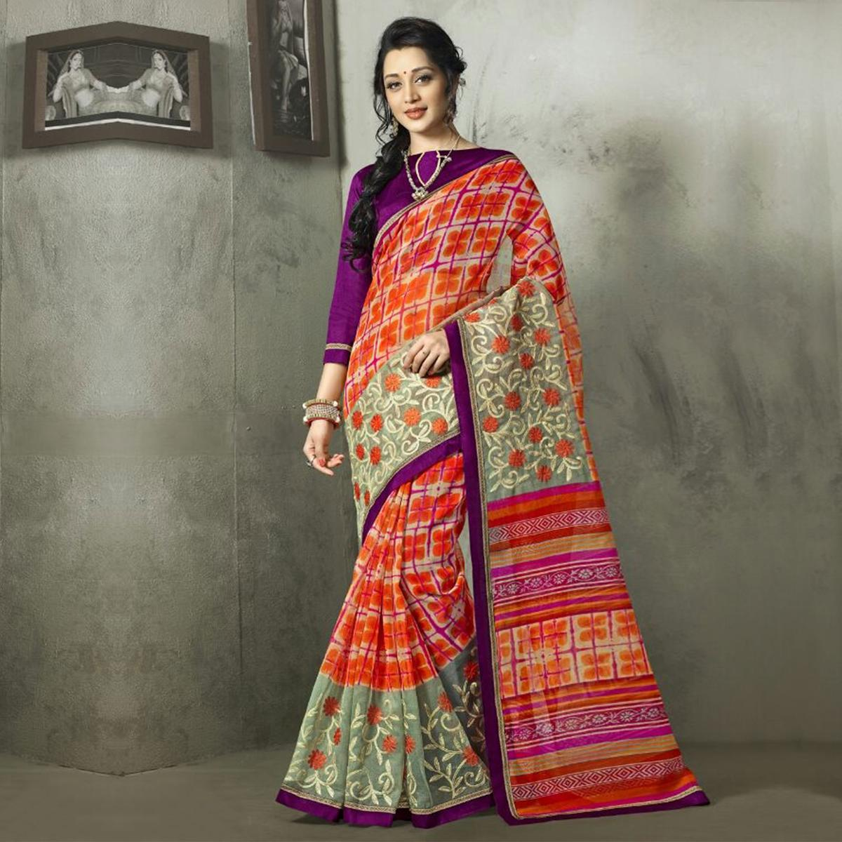 Orange - Grey Printed Cotton Saree
