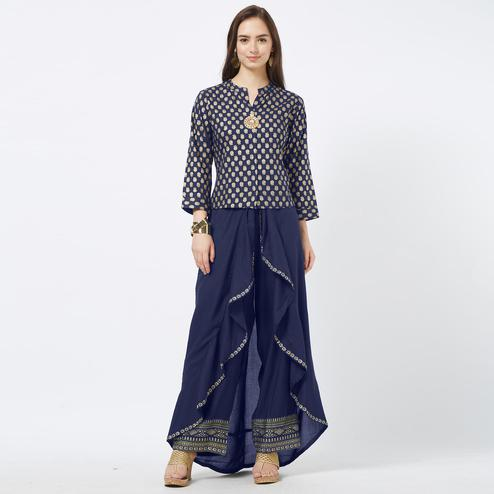 Opulent Navy Blue Colored Partywear Foil Printed Cotton Top & Palazzo Set