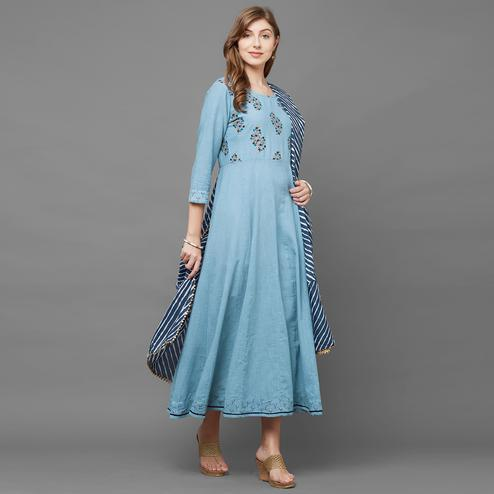 Exotic Blue Colored Partywear Printed Cotton Kurti With Printed Dupatta