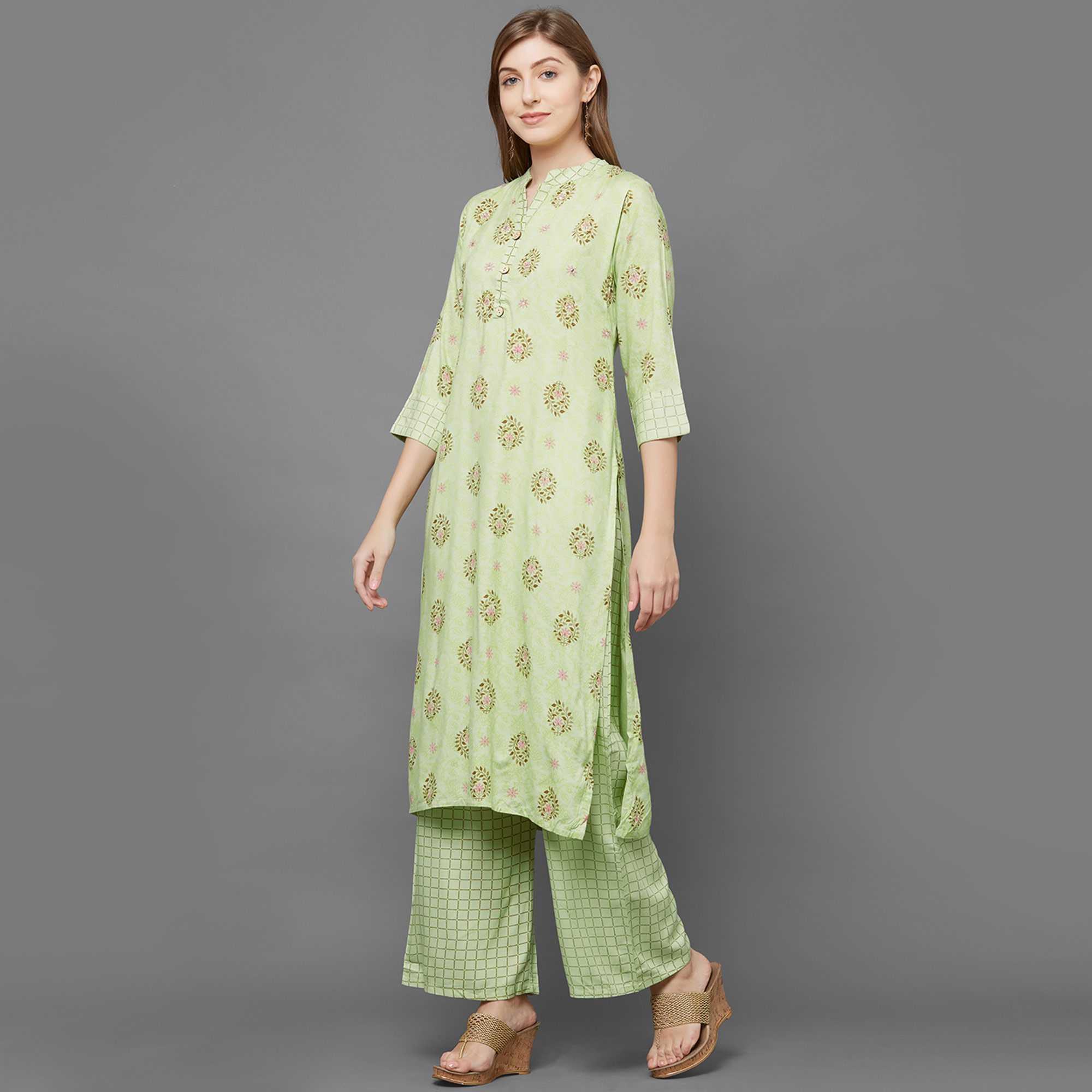 Trendy Green Colored Partywear Printed Cotton Kurti-Palazzo Set