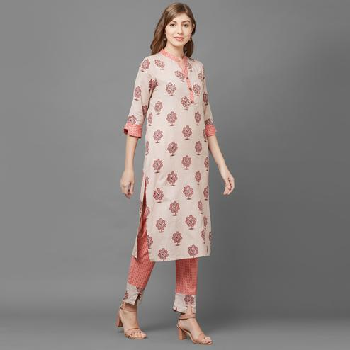 Pleasant Beige-Pink Colored Casual Printed Kurti-Palazzo Set