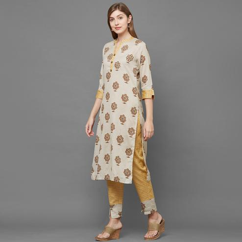Opulent Beige-Yellow Colored Casual Printed Kurti-Palazzo Set