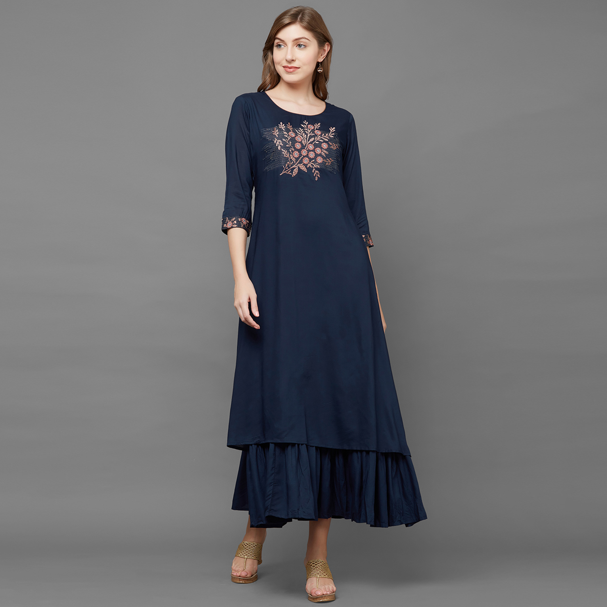 Energetic Navy Blue Colored Partywear Embroidered Cotton Long Kurti