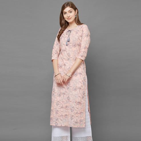 Glowing Light Peach Colored Casual Printed Cotton Kurti