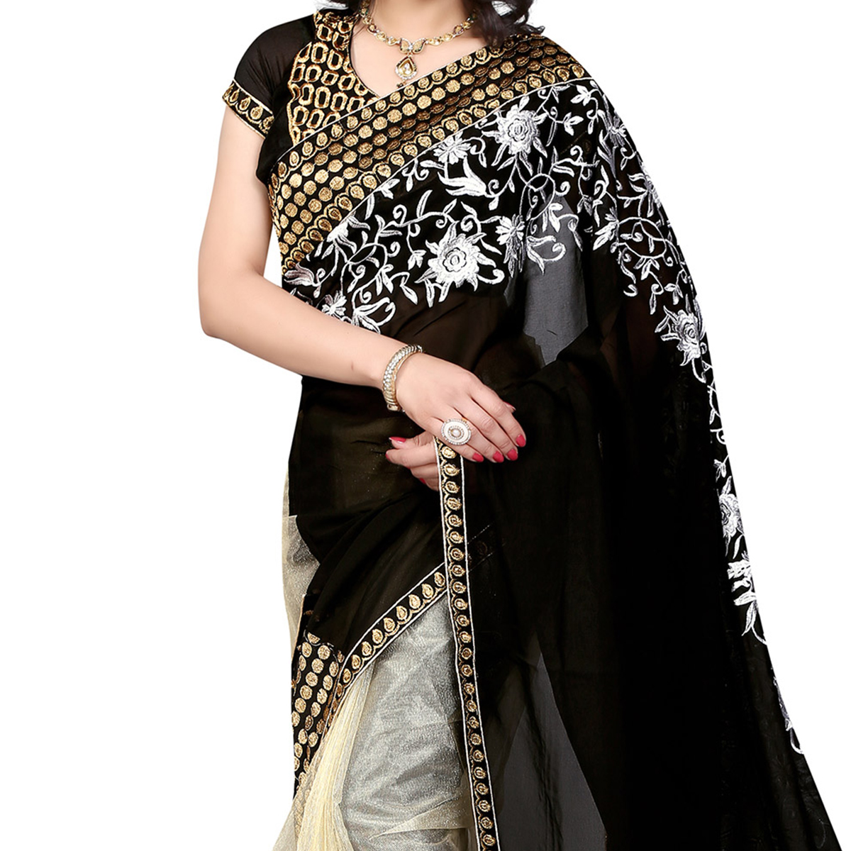 Black - Beige Half & Half Saree