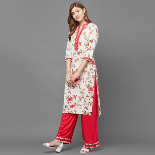 Mesmeric Cream Colored Casual Floral Printed Cotton Kurti-Palazzo Set