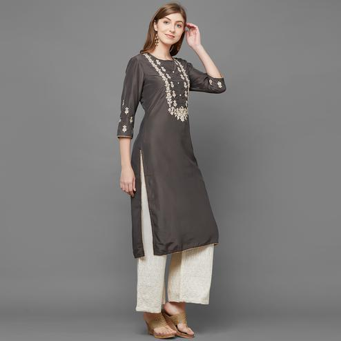 Unique Grey Colored Casual Wear Cotton Kurti-Palazzo Set