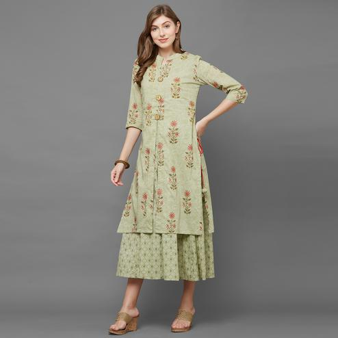 Flattering Light Green Colored Partywear Printed Cotton Long Kurti