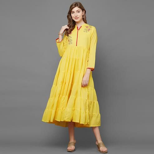 Preferable Yellow Colored Partywear Cotton Long Kurti