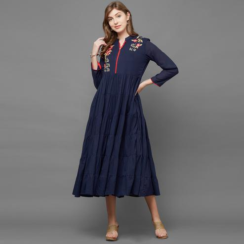 Marvellous Navy Blue Colored Partywear Cotton Long Kurti