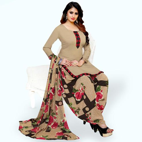 Classy Beige Colored Casual Printed Stitched Crepe Suit