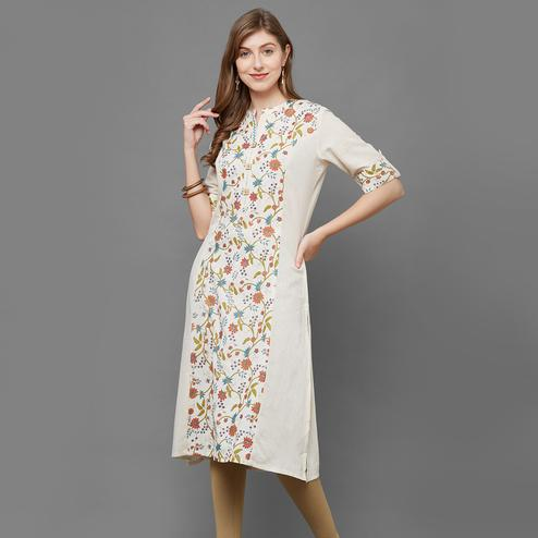 Attractive Cream Colored Casual Printed Cotton Kurti