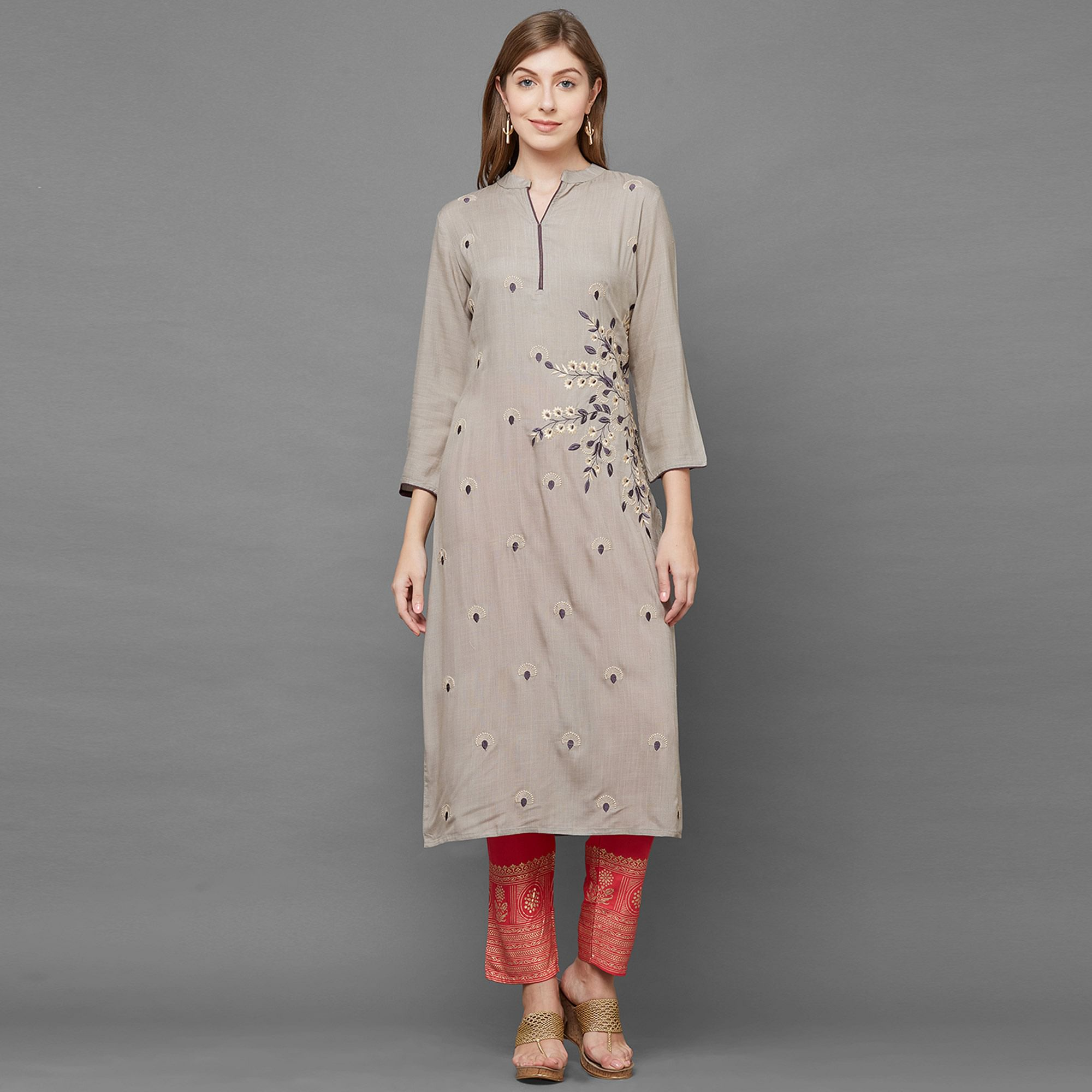 Blooming Gray Colored Partywear Embroidered Cotton Kurti