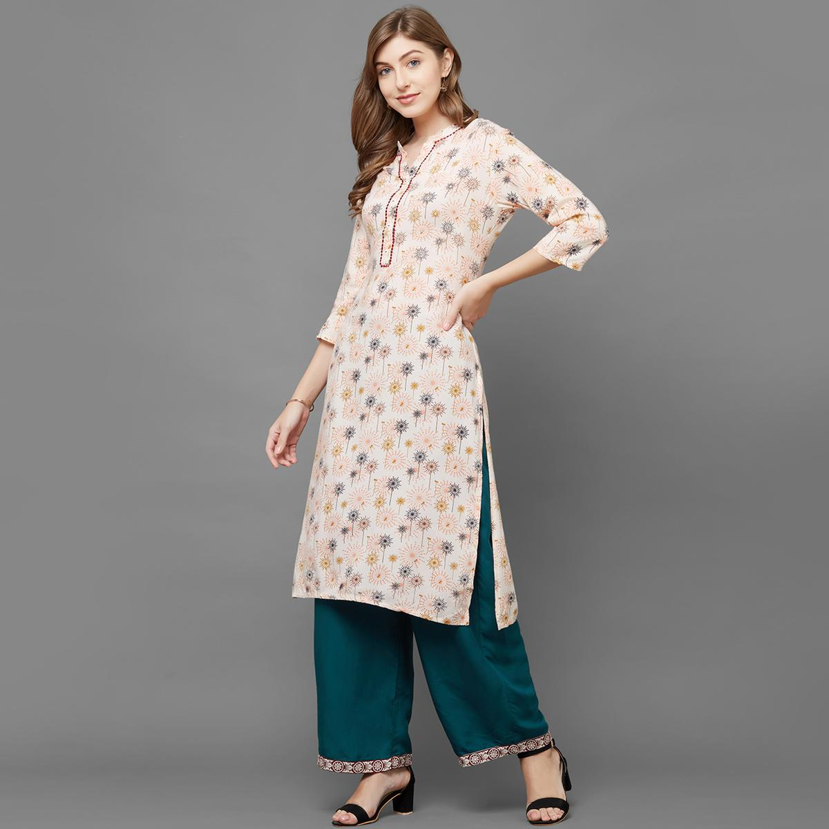 Jazzy Peach Colored Casual Printed Cotton Kurti-Palazzo Set