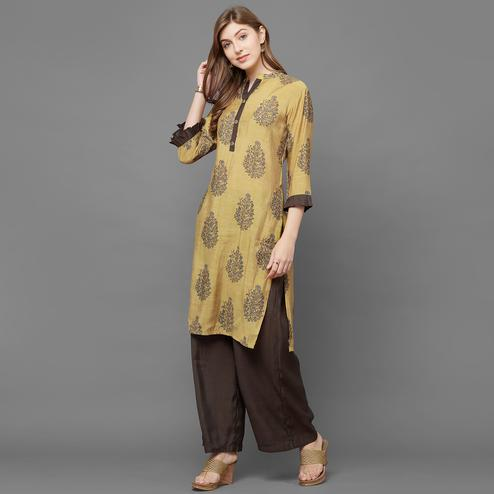 Beautiful Golden Colored Casual Printed Cotton Kurti-Palazzo Set