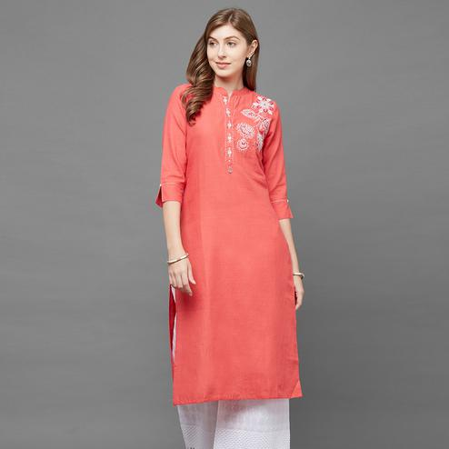Captivating Gajri Colored Casual Embroidered Cotton Kurti