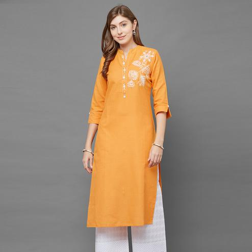 Innovative Mustard Yellow Colored Casual Embroidered Cotton Kurti