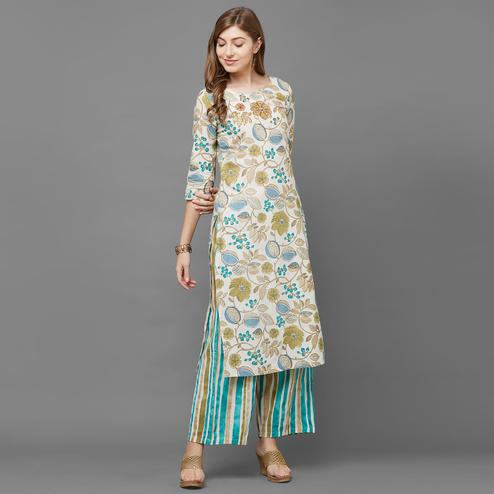 Eye-catching Cream-Green Colored Casual Printed Cotton Kurti-Palazzo Set