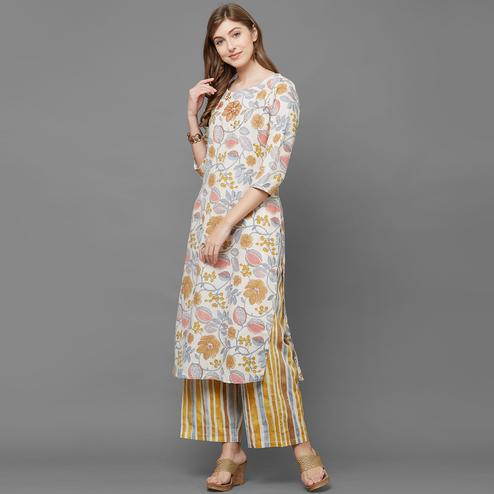 Fantastic Cream-Yellow Colored Casual Printed Cotton Kurti-Palazzo Set