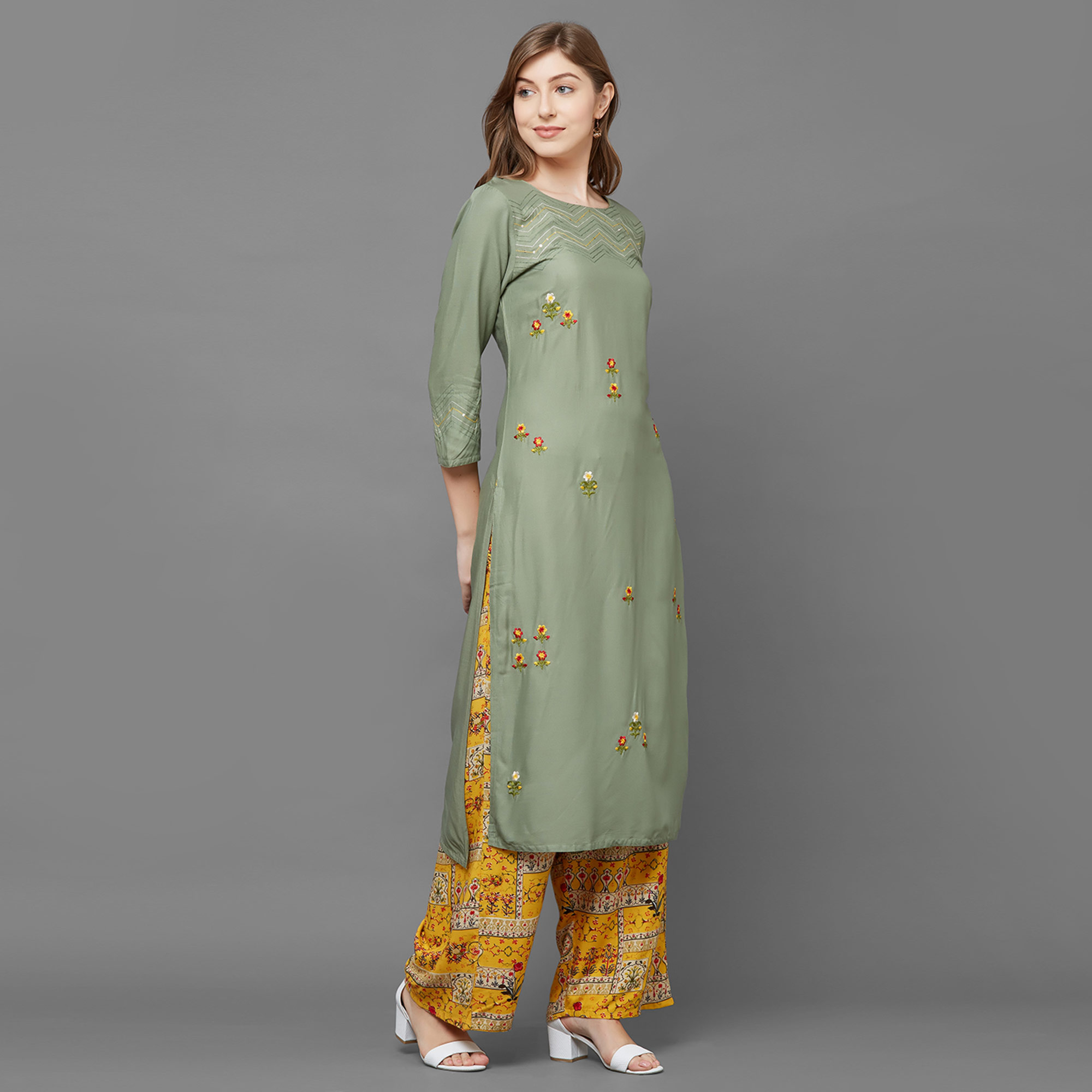 Gorgeous Green Colored Casual Embroidered Cotton Silk Kurti-Palazzo Set