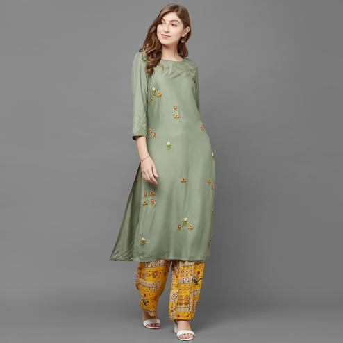 Gorgeous Green Colored Casual Embroidered Cotton Kurti-Palazzo Set
