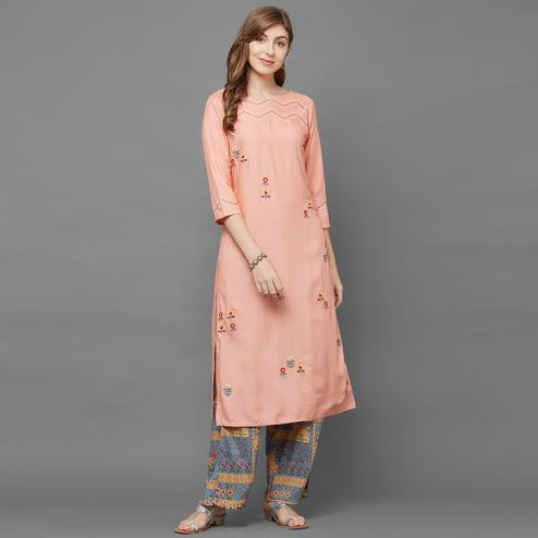 Blissful Peach Colored Casual Embroidered Cotton Silk Kurti-Palazzo Set