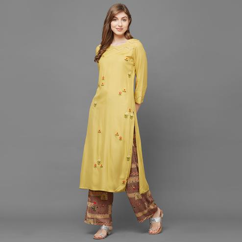 Ideal Lime Yellow Colored Casual Embroidered Cotton Kurti-Palazzo Set