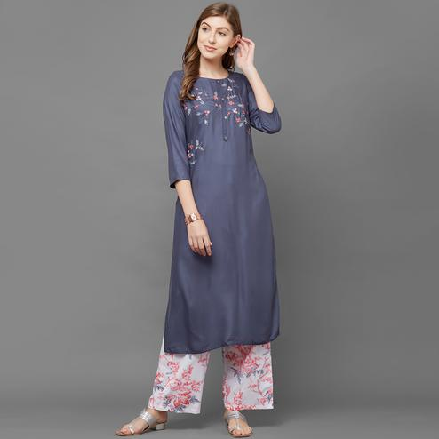 Imposing Gray Colored Casual Embroidered Cotton Silk Kurti-Palazzo Set