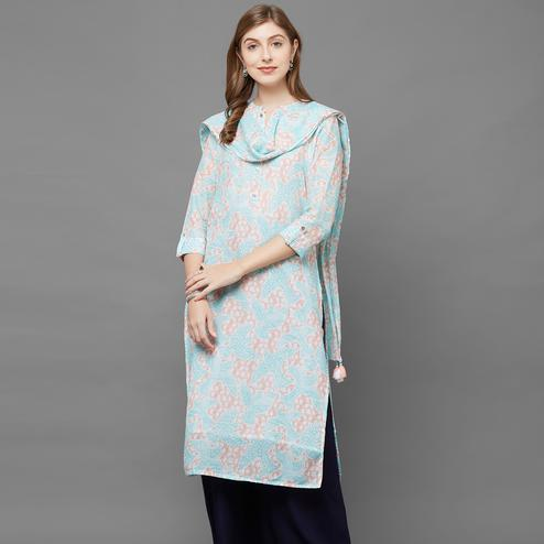 Lovely Sky Blue Colored Casual Printed Cotton Kurti With Dupatta