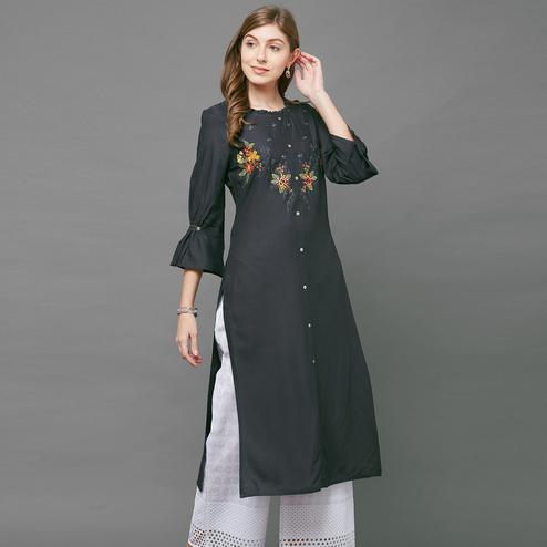 Breathtaking Gray Colored Casual Embroidered Cotton Kurti