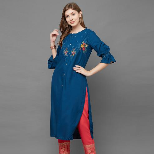 Ethnic Blue Colored Casual Embroidered Cotton Kurti