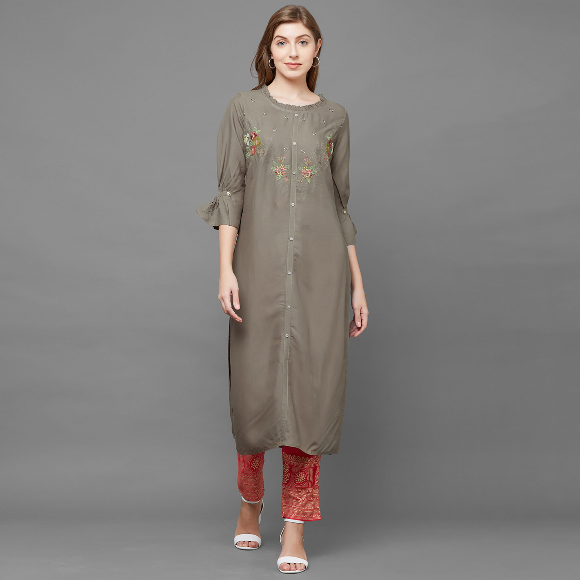 Ravishing Mehendi Green Colored Casual Embroidered Cotton Kurti
