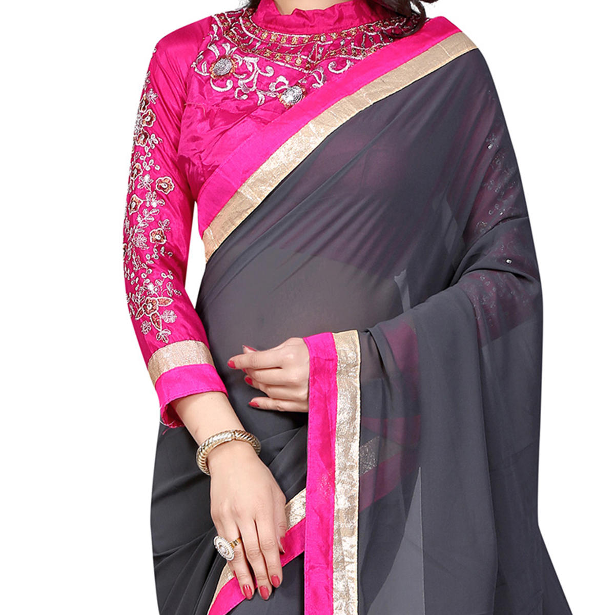 Grey Georgette Embroidered Work Saree