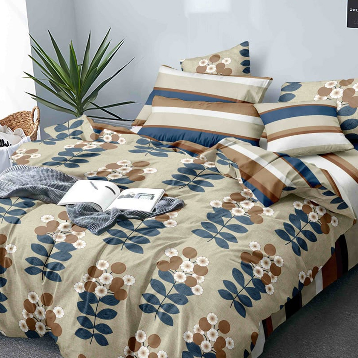 Appealing Brown Colored Printed Queen Sized Bed Sheet With 2 Pillow Covers