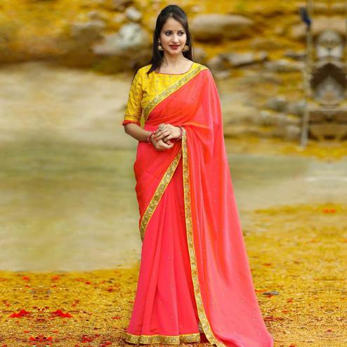 Stunning Coral Red Colored Partywear Georgette Saree