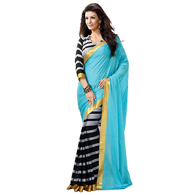 Blue - Black Printed Half Saree