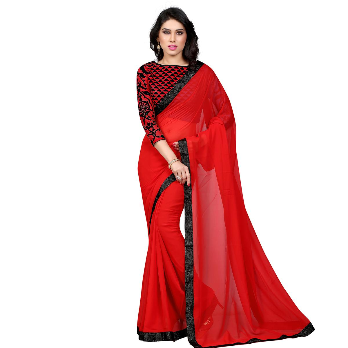 Red Lace Work Georgette Saree