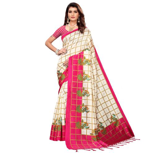 Adorable Off White-Pink Colored Festive Wear Mysore Silk Saree