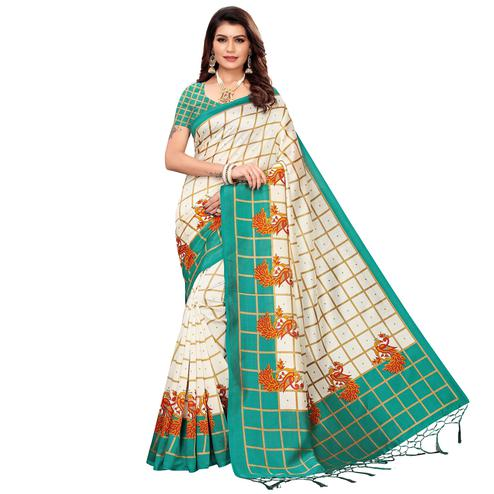 Attractive Off White-Turquoise Green Colored Festive Wear Mysore Silk Saree