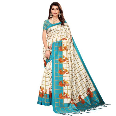 Beautiful Off White-Sky Blue Colored Festive Wear Mysore Silk Saree