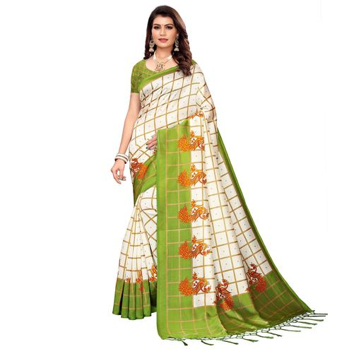Graceful Off White-Green Colored Festive Wear Mysore Silk Saree