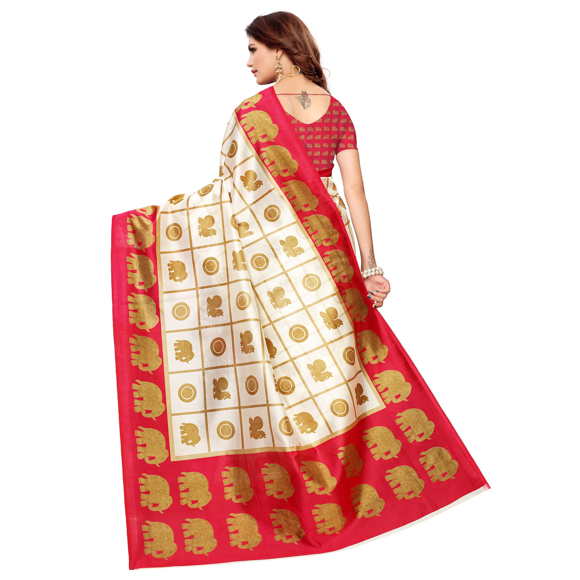Staring Off White-Pink Colored Casual Printed Mysore Silk Saree
