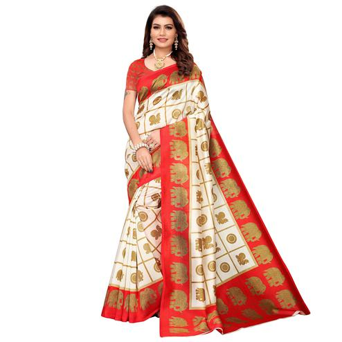Surpassing Off White-Red Colored Casual Printed Mysore Silk Saree