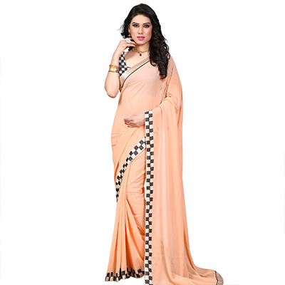 Beige Border Work Georgette Saree