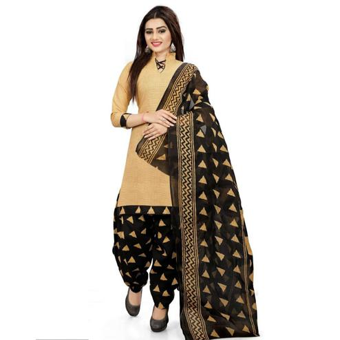 Desiring Beige Colored Casual Printed Crepe Patiala Suit